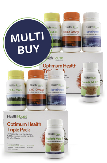 Improve your everyday health the the Optimum Health Triple Pack and Probiotic.