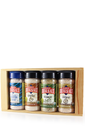 Try RealSalt and the 3 different organic flavours in this wooden 135g shaker gift pack.