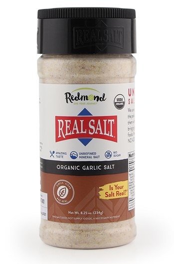 Mineral rich, pure sea salt from Utah with added garlic flavouring.